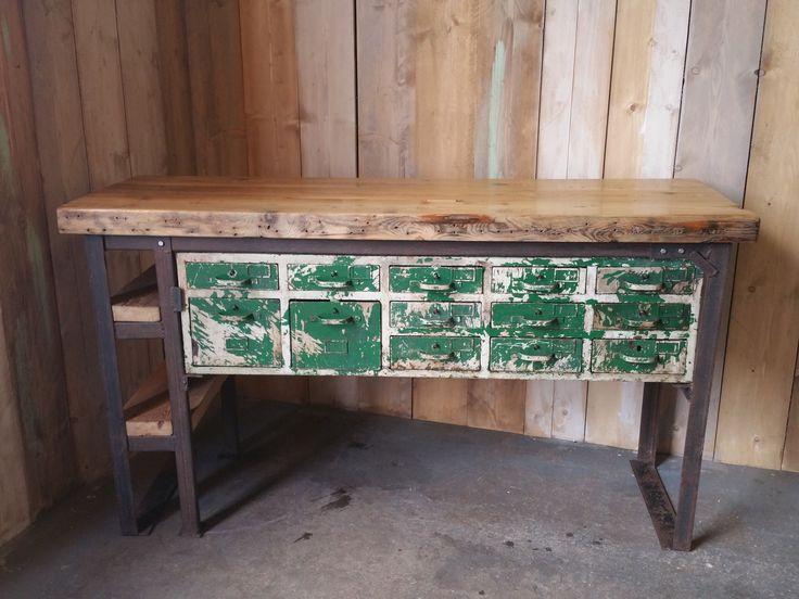 Industrial Reclaimed Pine Sideboard Unit