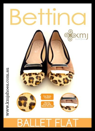 Bettina ballet flats are a great autumn/winter buy for customers that love a little animal print on their shoes! Available in beige and black in sizes 36-41. Sign up at www.kmjshoes.com.au to become a member.