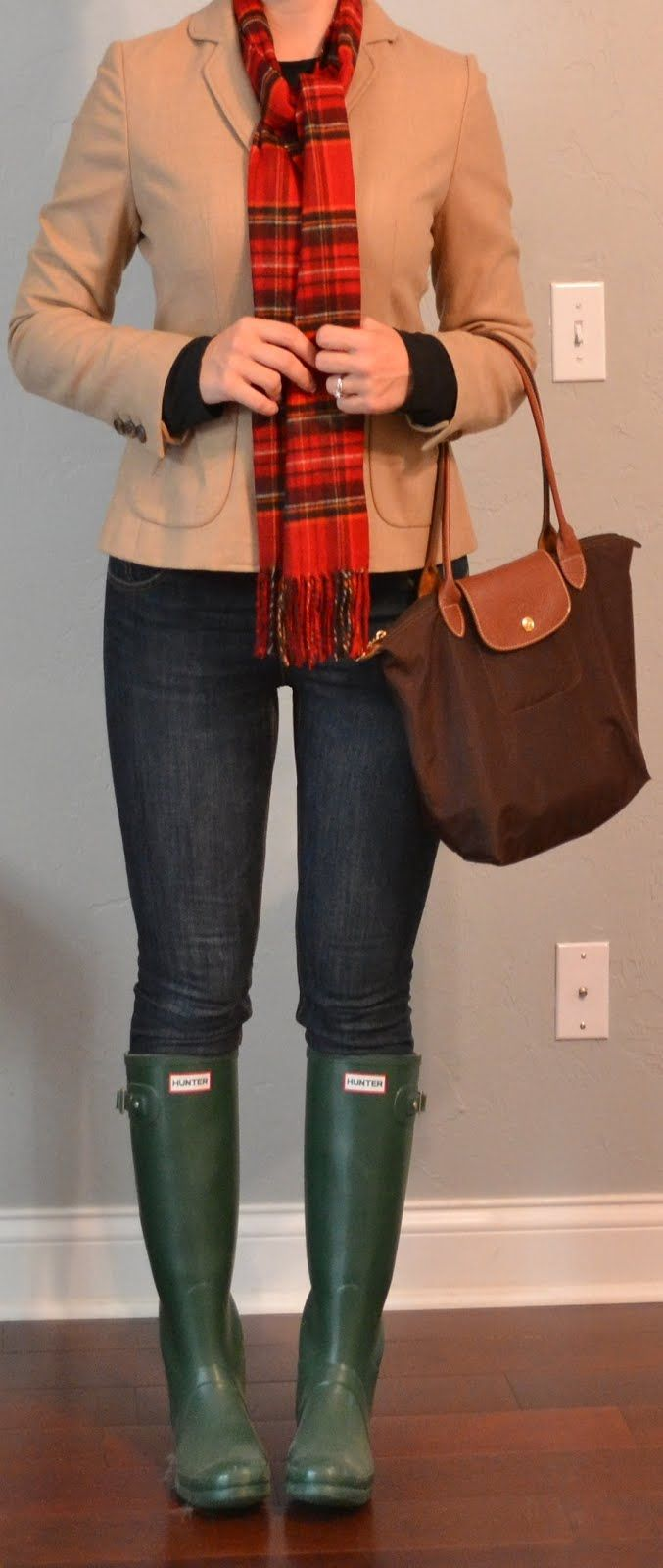 Top:  Camel blazer - Calvin Klein via TJ Maxx  love,  Black thermal shirt - Some camping store  Bottom:  Skinny jeans - Target  Shoes:  Green Wellington rain boots - Hunter  Accessories:  Brown shoulder tote - Longchamp  Red plaid scarf - Target