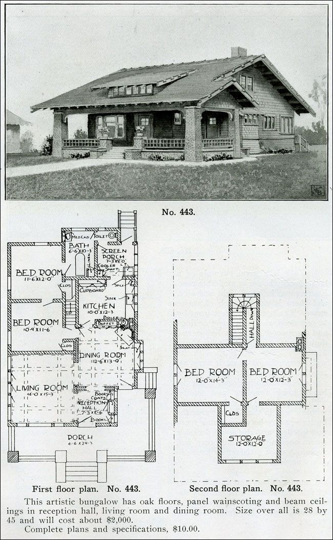 Wrapped porch, battered columns - Bungalow house plan - 1910 - Wilson