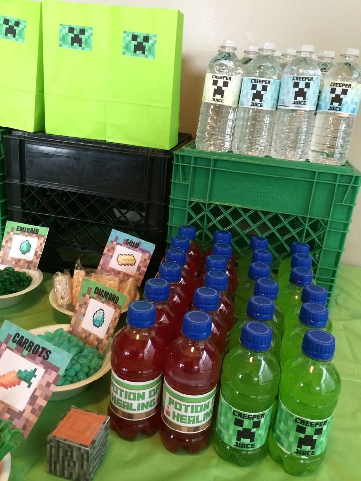 Creeper juice and healing potions. Made from Hawaiian Tropic juices and water.