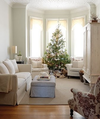 Bay with comfy chairs at christmas