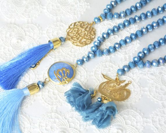 Golden Allah blue pendant teal hijap hicab by KURSIJEWELRY on Etsy Golden Allah blue pendant, teal, hijap, hicab, religious hajj gift, pray misbaha, dowry, mohammedan, muslim pray, sufi semazen rosary, Allah rosary necklace, navy blue muslim necklace rosary, muslim bridal gift, praying holly beads, namaz, pray, worship, belif, creed, faith, mosque, moslem, gilttered golden glass beads, nice blue chain, pretty pray necklace, muslim sibhah gift, monk #tasbeeh, dark blue marriage portion,