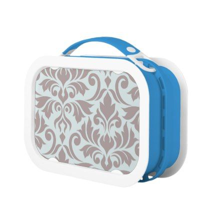 Flourish Damask Art I Taupe on Duck Egg Blue Lunch Box - pattern sample design template diy cyo customize