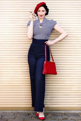 40s Padstow Birds Swing Dress In Navy: Collectif Clothing 40s Franky Swing Trousers Navy In 2020