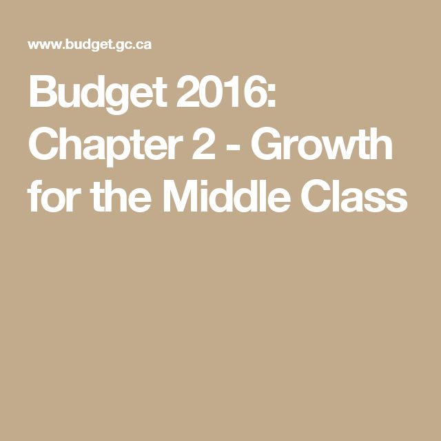Budget 2016: Chapter 2 - Growth for the Middle Class