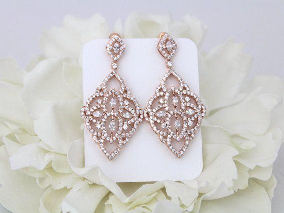Rose Gold Earrings Chandelier earrings Art by TheExquisiteBride