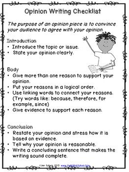 OPINION WRITING CHECKLIST - STUDENT FRIENDLY - TeachersPayTeachers.com