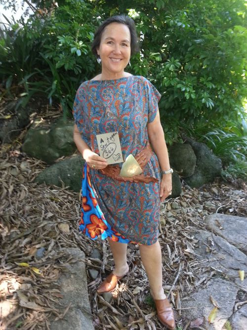 Sew 364 - turn a gathered viscose skirt into a dress by tipping on its side and adding an insert from another cast-off garment