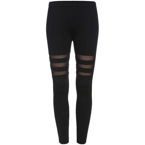SheIn(sheinside) Black Skinny Sheer Mesh Leggings ($9.99) found on Polyvore featuring pants, leggings, bottoms, jeans, black, black skinny leg pants, stretchy pants, stretch skinny pants, stretch pants and skinny trousers