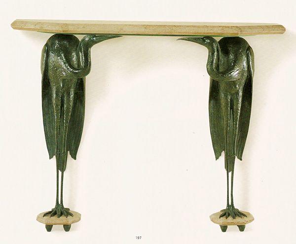 French Art Deco: Console aux hérons par Albert Cheuret (1884 - 1966).