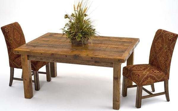 Barnwood Dining Room Table and Chairs - Barnwood table with fabric covered chairs