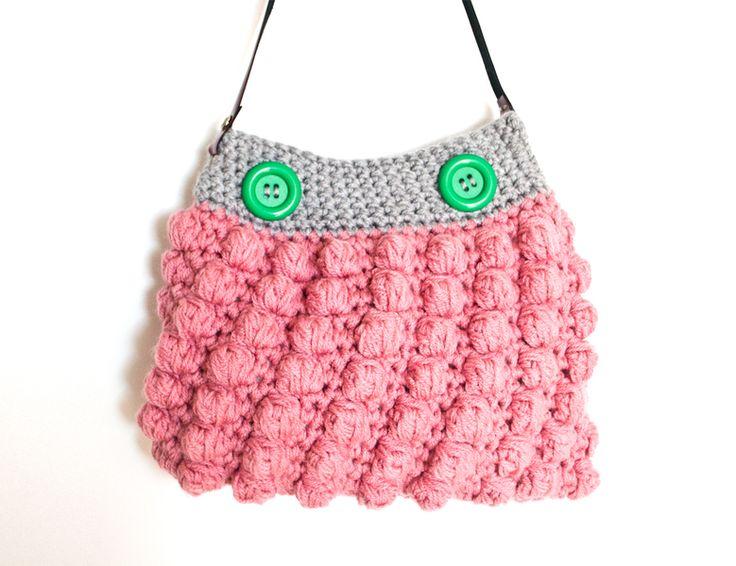 Handtasche - KNOPFKOPF Tasche / Grau, Altrosa / Noppen - ein Designerstück von KnopfKopfMuetze bei DaWanda
