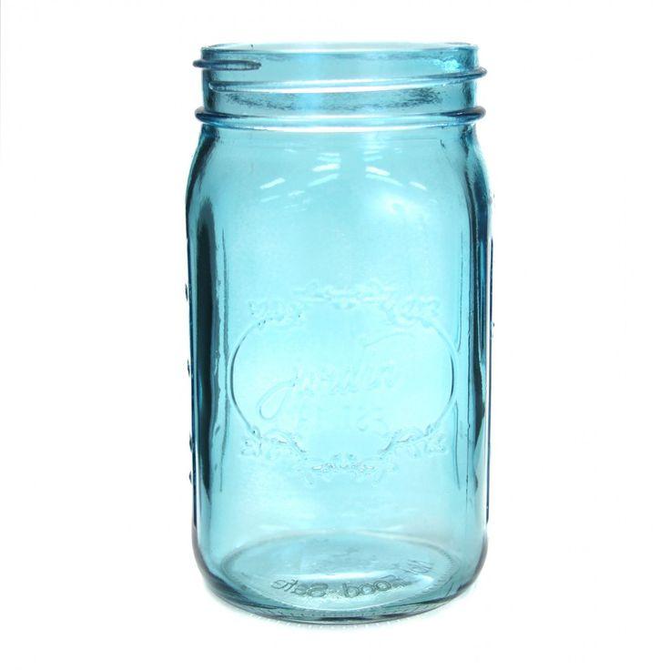 24 oz Colored Mason Jars - Blue
