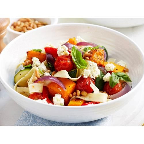 Roast pumpkin and zucchini pasta recipe - By Woman's Day, Cooks can never have too many pasta recipes in their repertoire. This easy vegetarian dish gets some added nutrients with ricotta cheese and toasted pine nuts.
