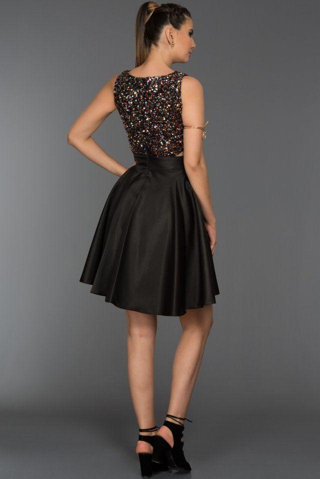 3da1c42b4430a Siyah Payetli Mezuniyet Elbisesi C8096 | gece elbiseleri
