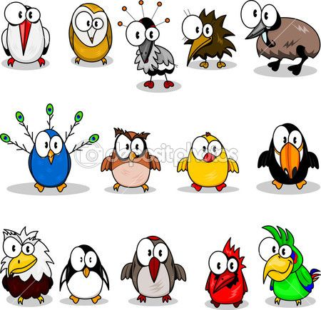 Cartoon birds (chicken, eagle owl, toucan, penguin, peacock , owl, parrot, woodpecker, cardinal-bird, ostrich, crane, stork, kiwi, eagle). — Stockillustratie #3139321