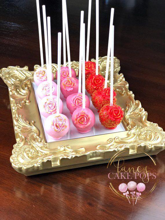 Gourmet Round Cake Pops Rose Gradient Pink Birthday Wedding Bites Celebration Gluten Free Sugar Available