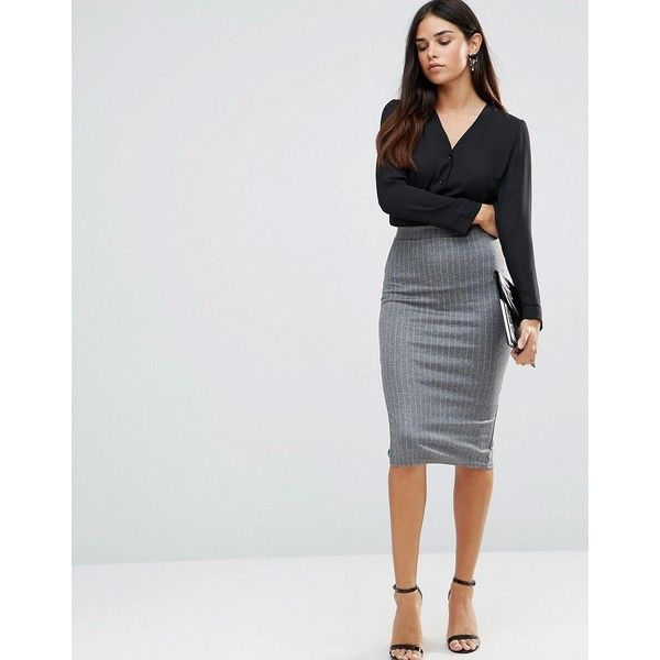 TFNC Striped Pencil Skirt (£18) ❤ liked on Polyvore featuring skirts, grey, high-waist skirt, stretch pencil skirt, high waist knee length pencil skirt, gray skirt and stretchy pencil skirt