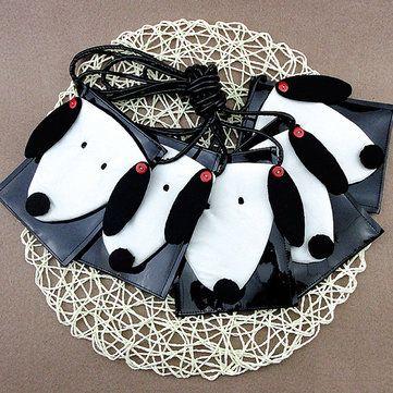 Мультфильм Симпатичные белые и черные собаки мешки плеча Crossbody Сумки