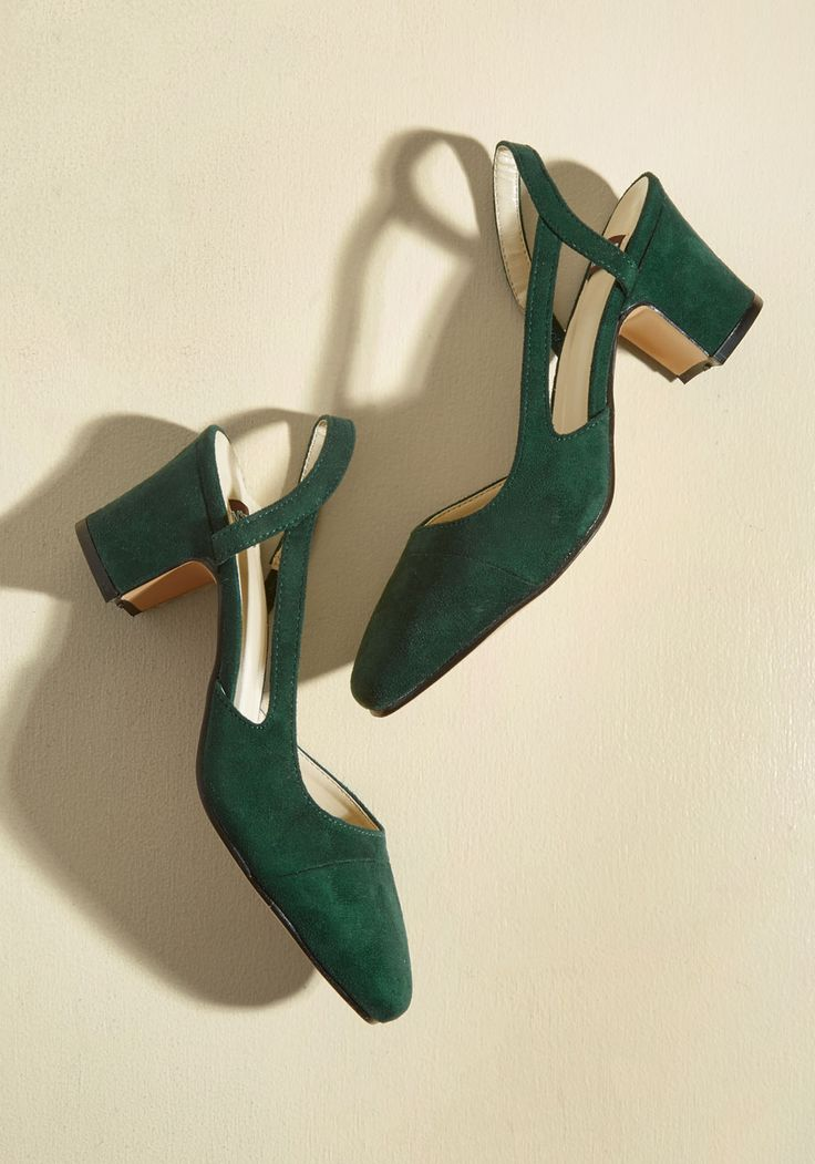 Solo Sashay Vegan Heel in Pine | Mod Retro Vintage Heels | ModCloth.com  You don't need anyone else to bring out the sass in your strut - just these dark green heels! A ModCloth-exclusive style crafted with vegan faux-suede fabric, mid-height heels, and sleek cutouts, these slingbacks will have all eyes on your confidence and cool-girl attitude.