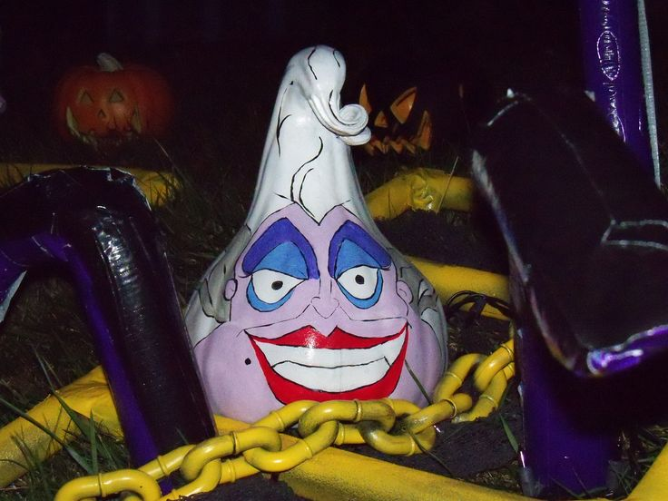Painted Gourd Pumpkin Ursula Sea Witch From Disney Little