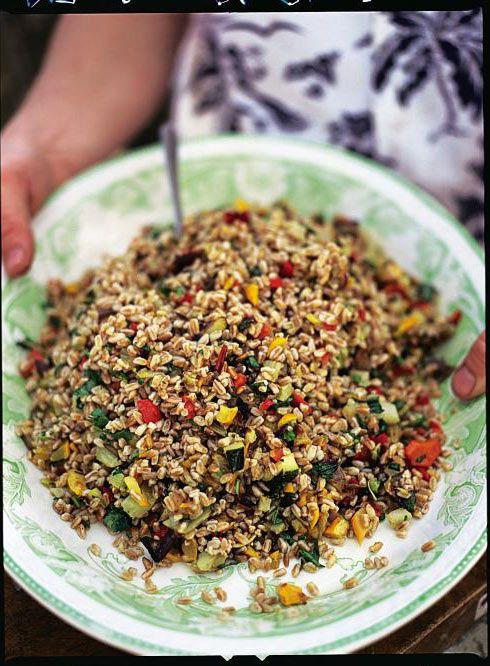 italian roast vegetable & farro salad | Jamie Oliver | Food | Jamie Oliver (UK), use toasted buckwheat groats to make gluten free