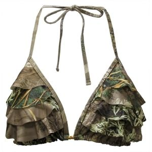 RealTree Ruffled Camo Swim Top.. Most of the time I would say camo swim tops are way to much but this one is cute with ruffles!