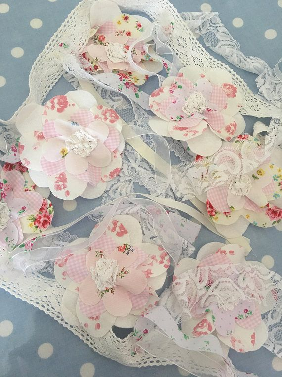 Shabby chic floral  Flower shaped cotton fabric bunting, shabby chic party  fabric  bunting,banners, Garland, wedding bunting, pennants,