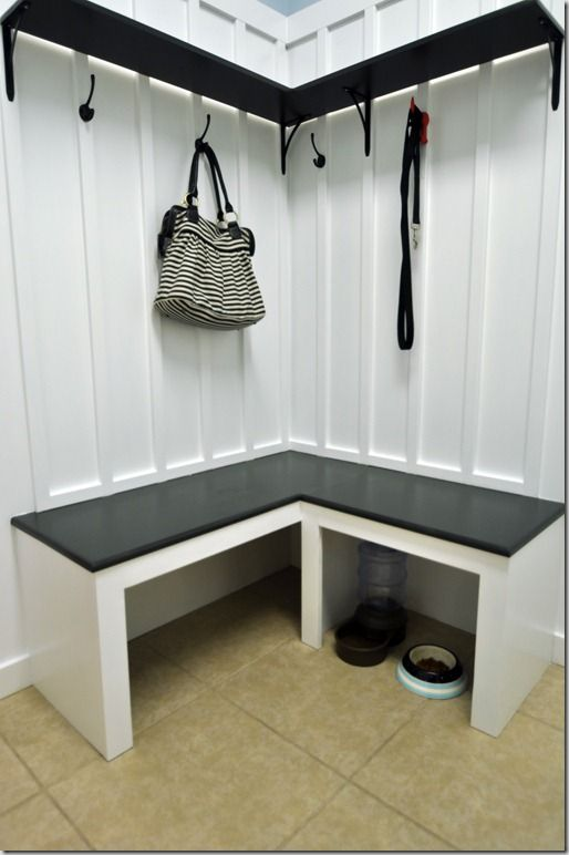 27 best small corner mudroom images on pinterest laundry for Building a mudroom bench