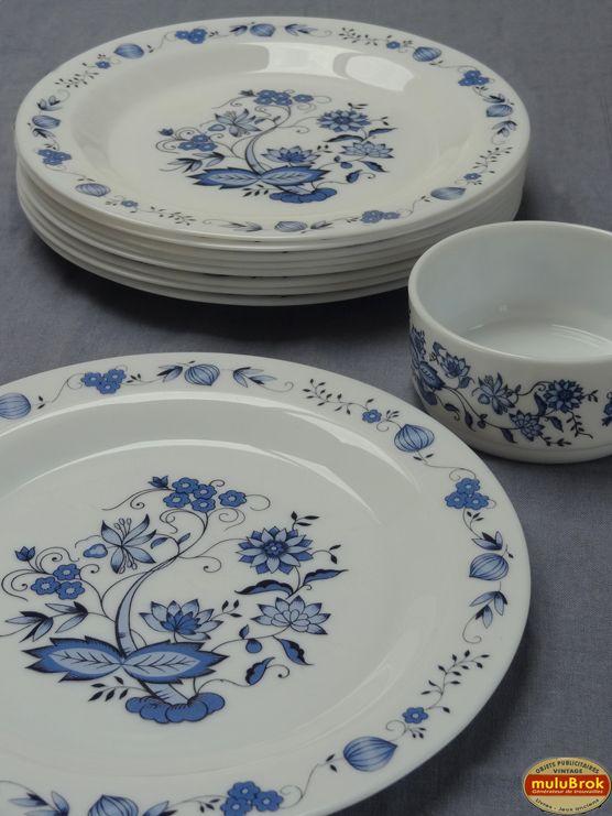 Vaisselle Assiettes ARCOPAL Bleu.  A retrouver sur www.mulubrok.fr
