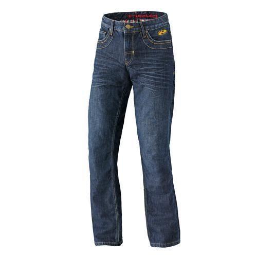 Pantalón Jeans Kevlar Hoover de motorista para hombre. Material: Denim (100% algodón). Seguridad: Refuerzos en fibra DuPont KEVLAR en la zona del trasero, cadera, muslos y rodillas.  Goma (desmontable) en el pie para evitar que el pantalón se suba. Bolsillos para protectores de cadera y rodilla (opcionales). Colores: Negro, Azul.