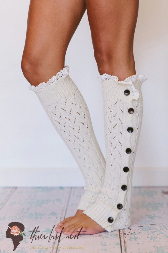 Ivory Knitted Leg Warmers Lace Ruffle Trim Button Up Socks Boot Topper Crochet Lace Wooden Buttons for Stocking Stuffers  Ivory (LW-IVORYBU)