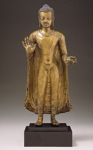 Buddha, Gupta period, second half of 6th century  India (probably Bihar)  Bronze