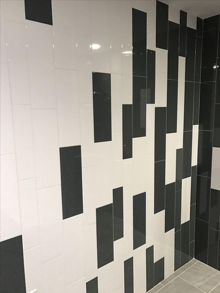 large subway tile installed vertical daltile elevare el44 carbon u0026 el40 lunar size 6x18 - Daltile Subway Tile
