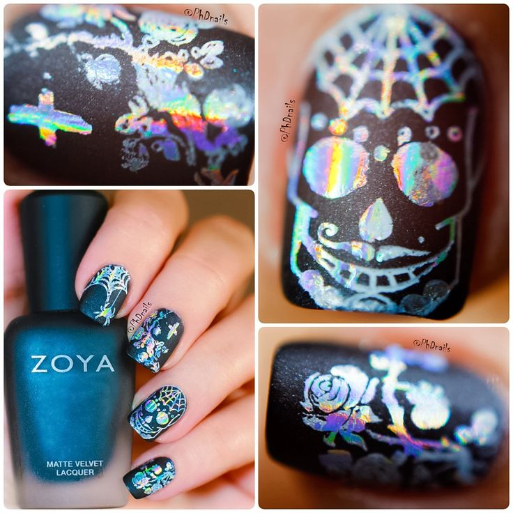 PhD nails: Gothic nail art with Zoya Domiva and holographic foil stamping