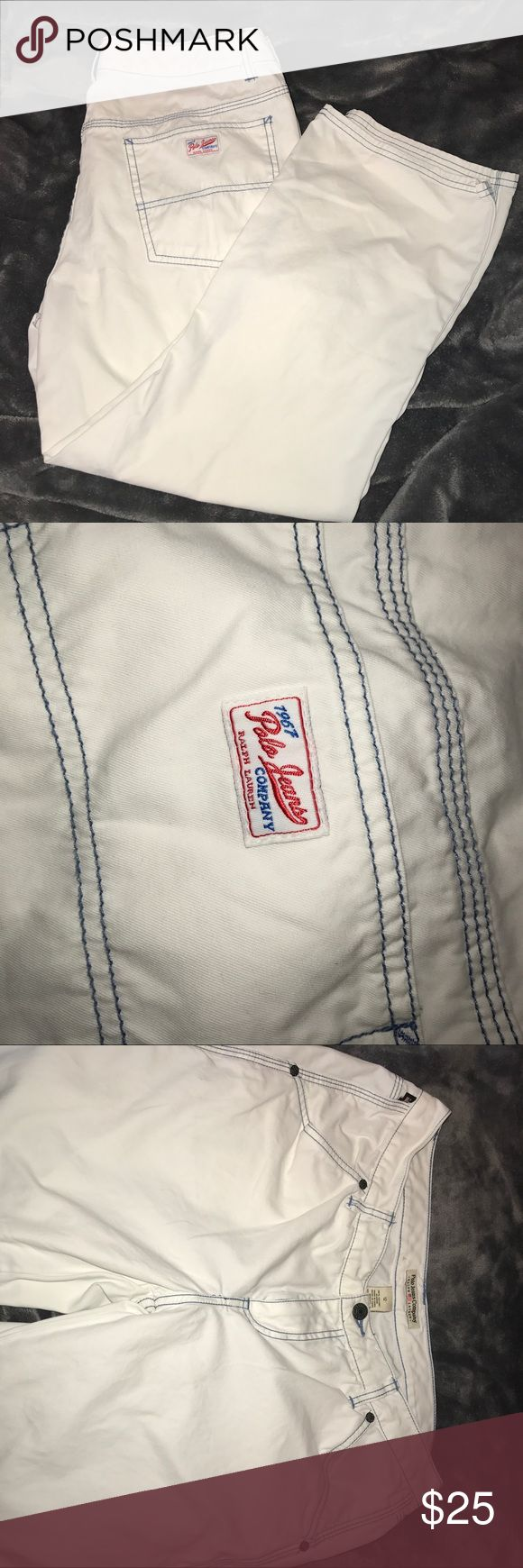 POLO JEANS CO. White Pants w/Blue Stitching! Cute! Never Worn! Never Washed! 100% Cotton! Made w/thick-as-denim material (but softer 😀). Inseam = 24 Inches; Length = 34 Inches. Two pockets in the back; two pockets in the front; and two extra pockets on right-side leg (see photos)! These look to be ankle pants! Super Cute!!⭐️ Polo Jeans Company Pants Ankle & Cropped