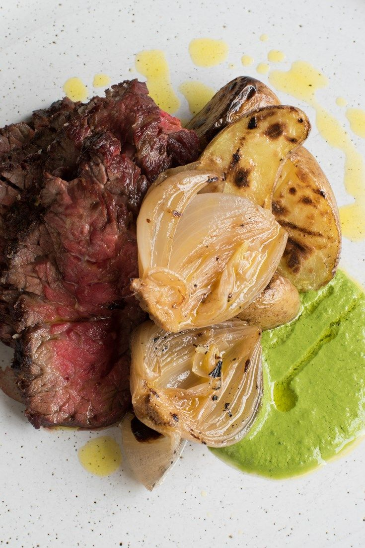 Paul Foster serves up a fantastic barbecued bavette steak recipe, served with a vibrant green sauce.
