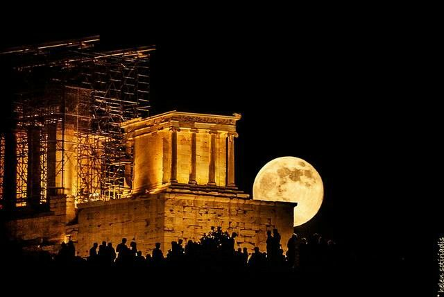 Super moon over ancient temple