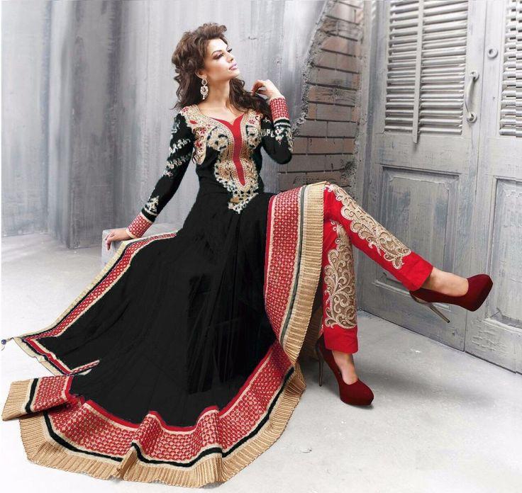 Magnificient Black Colored Embroidered Net Salwar Suit