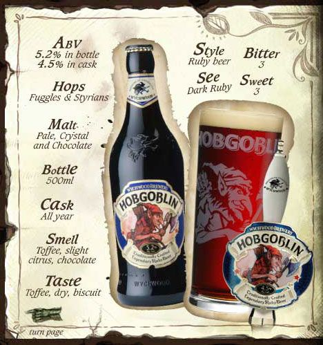 Craft brewed Wychwood Hobgoblin beer