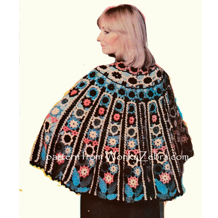 not strictly a poncho; but a fabulous capelet in floral panels. Crochet pattern PDF WZ834