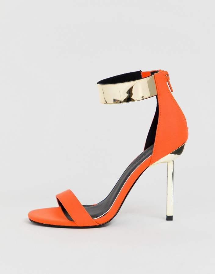 1d9ea031e1fb ASOS DESIGN Hydroid barely there heeled sandals in neon orange ...