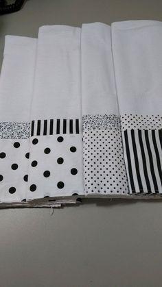 Kit com 5 panos de prato com barrados de algodão. Estampas a escolher, Poá, listrado, floral e outras. Medida do pano: 66 cm x 41 cm.