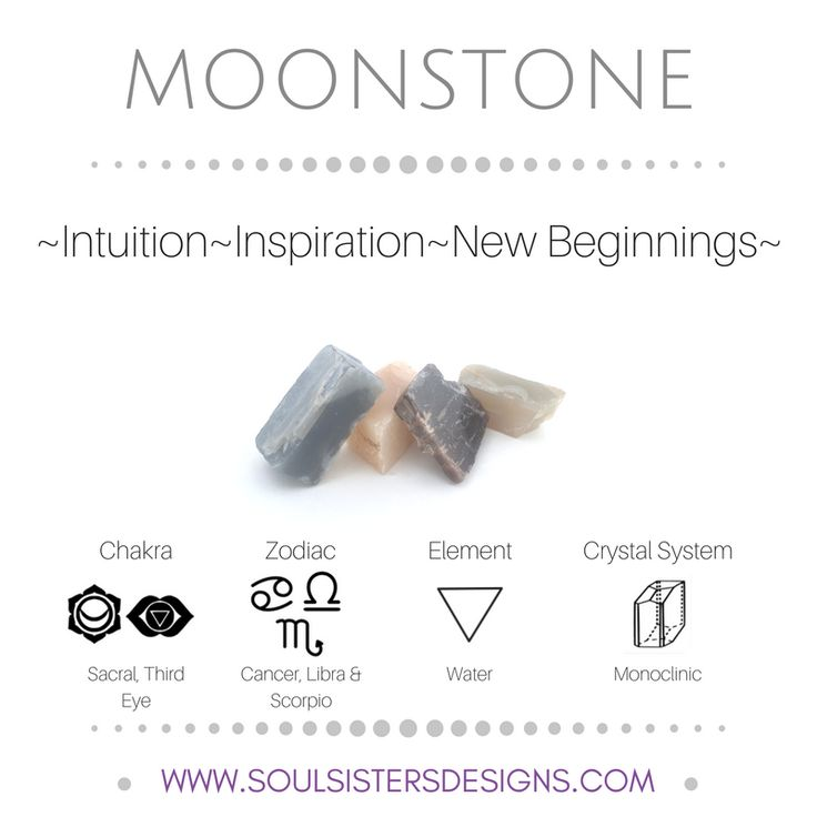 Metaphysical Healing Properties of Moonstone, including associated Chakra, Zodiac and Element, along with Crystal System/Lattice to assist you in setting up a Crystal Grid. Go to https://www.soulsistersdesigns.com/moonstone to learn more!