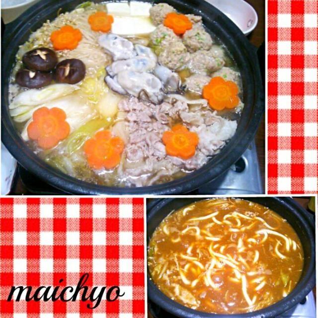 寄せ鍋は醤油ベースのスープです。〆に昨日の残りのカレーを入れてカレーうどんにしました。 - 113件のもぐもぐ - 寄せ鍋からの~~カレーうどん♡ by maichyo