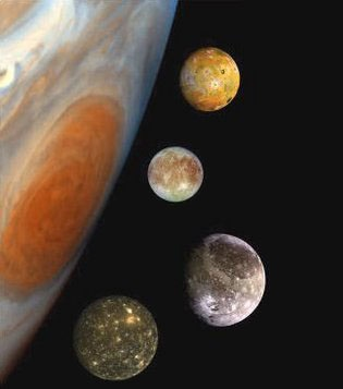 The four moons of Jupiter