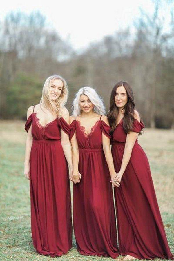 Burgundy off the shoulder Bridesmaid Dress