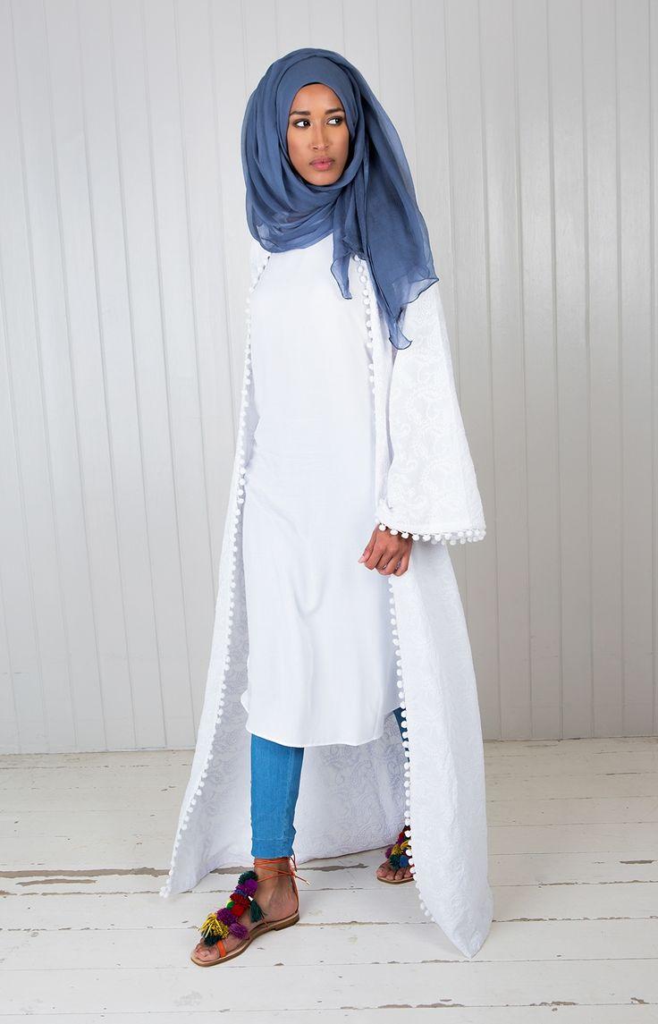 Slip Dress White - 3 Quarter Length