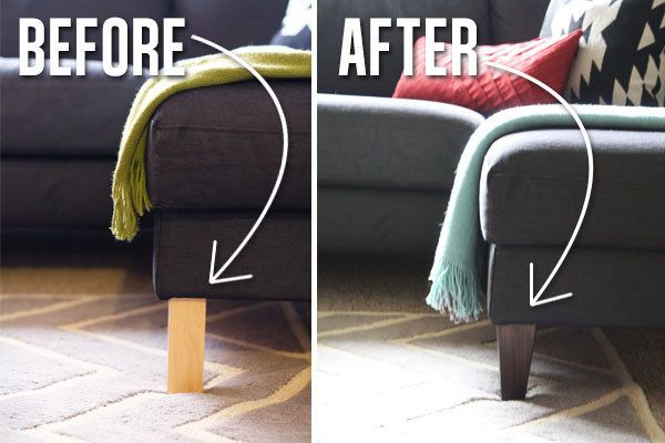 Tauschen Sie sich die Beine eines Ikea-Sofa. | 37 Cheap And Easy Ways To Make Your Ikea Stuff Look Expensive